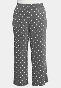 Plus Size Dotted Plaid Palazzo Pants