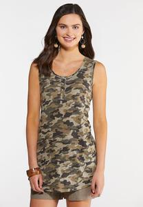 Plus Size Camo Lace Back Tank