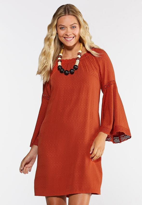 Plus Size Lace Trim Peasant Dress A- Line & Amp ; Swing Cato Fashions