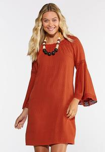 Plus Size Lace Trim Peasant Dress