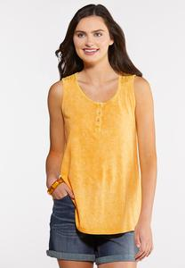Plus Size Crochet and Buttons Tank