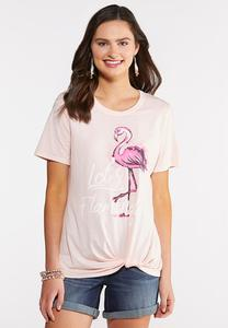 Plus Size Let`s Flamingle Twist Tee