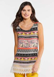 Mixed Print Crochet Tank