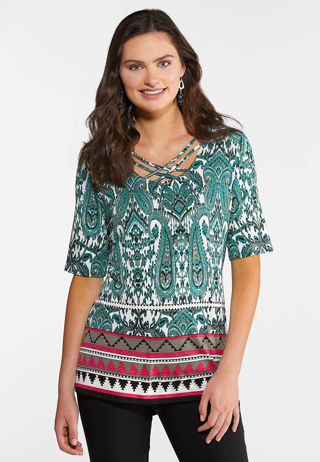 Plus Size Criss Cross Paisley Top