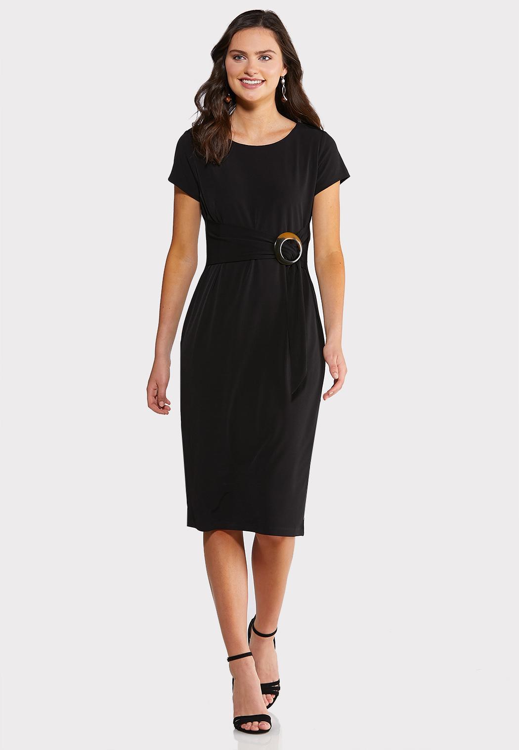Tortoise Belted Midi Dress