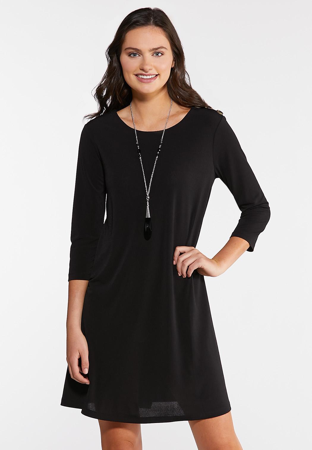 Plus Size Button Swing Dress