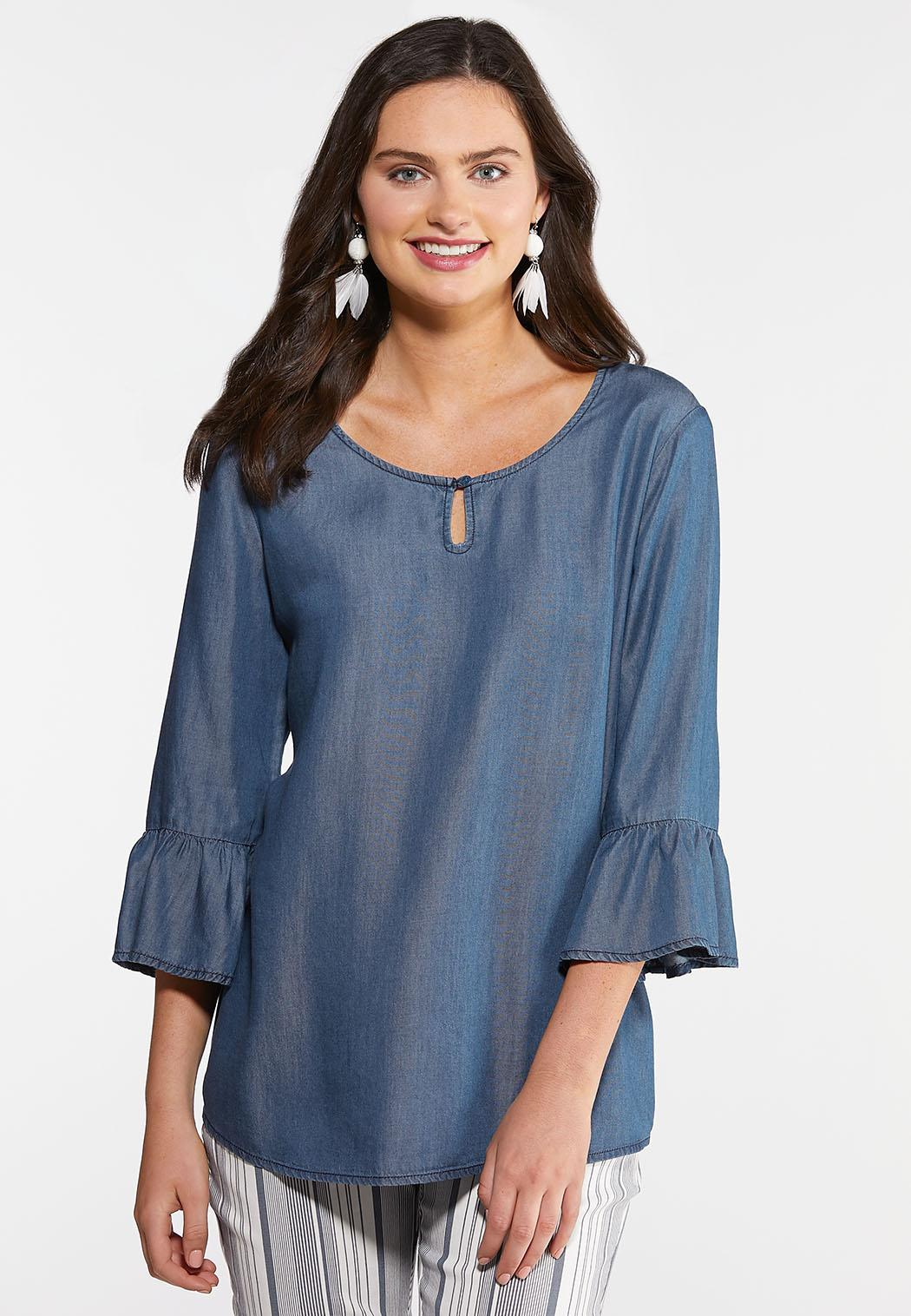 Plus Size Chambray Bell Sleeve Top Tops Cato Fashions