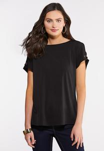 Plus Size Grommet Shoulder Top