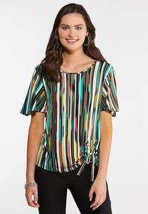 Plus Size Abstract Cinch Top