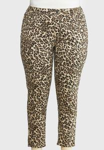 Plus Size Cheetah Denim Pants