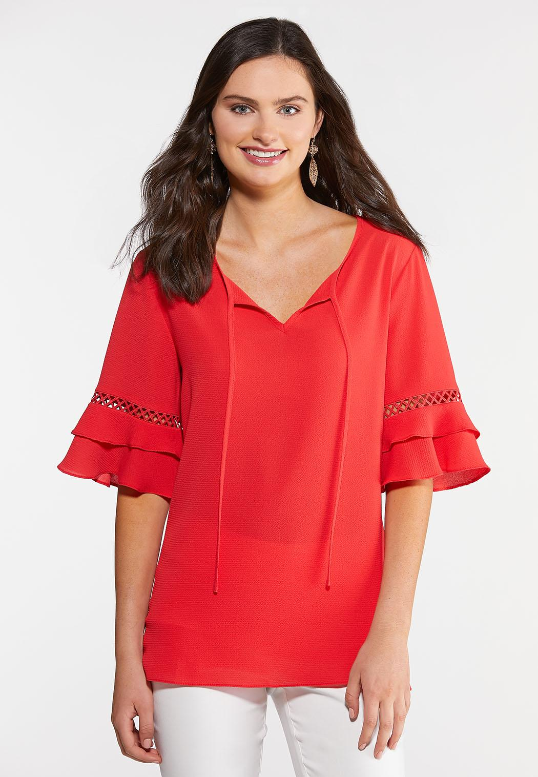 Plus Size Red Crepe Ruffled Sleeve Top