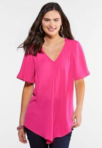 Plus Size Pink Hanky Hem Top