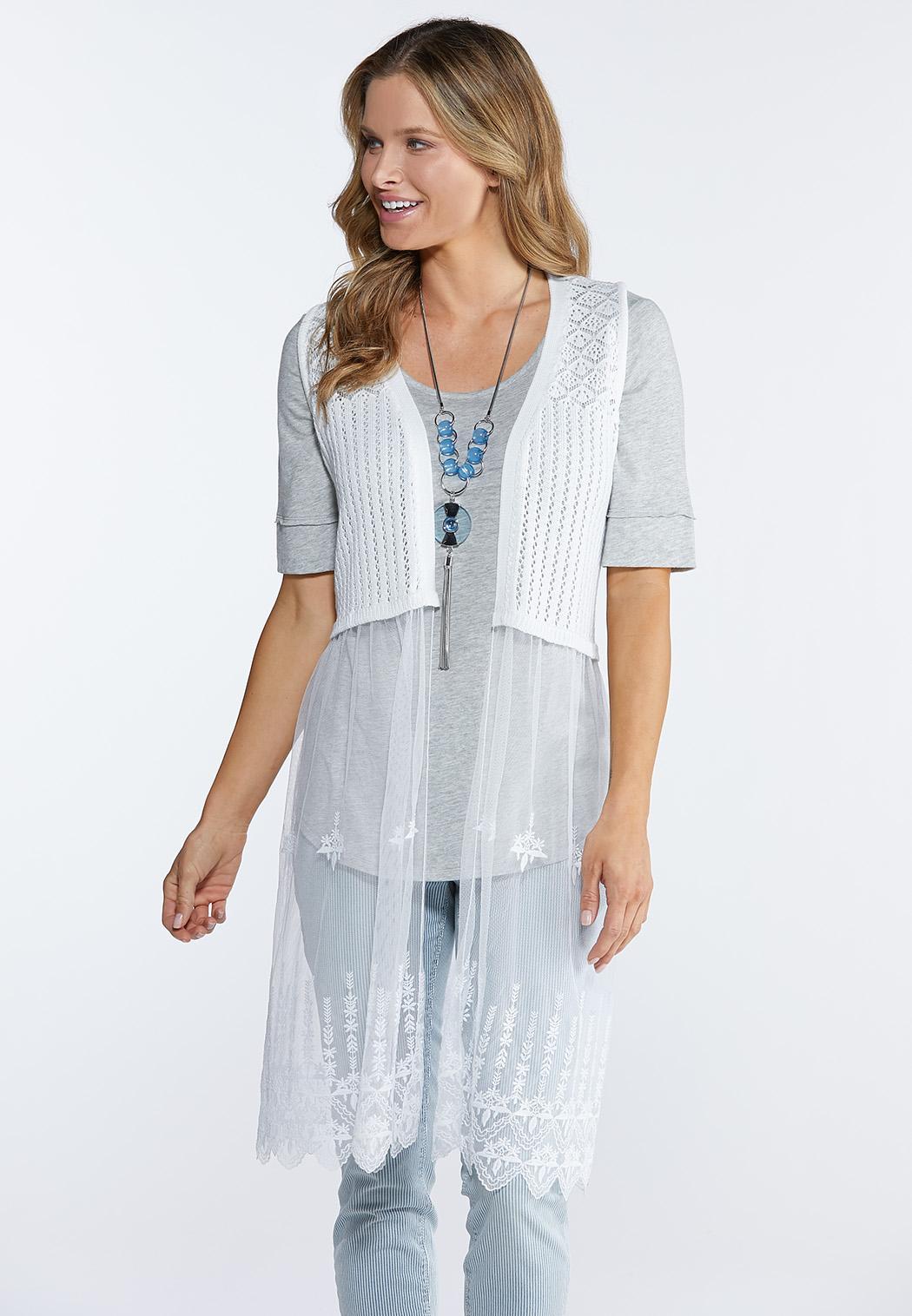 Elegant Embroidered  Mesh Vest