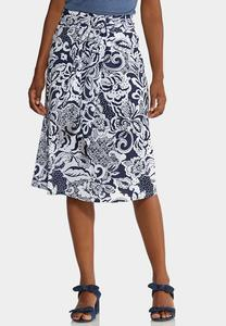 Plus Size Navy Floral Front Tie Skirt