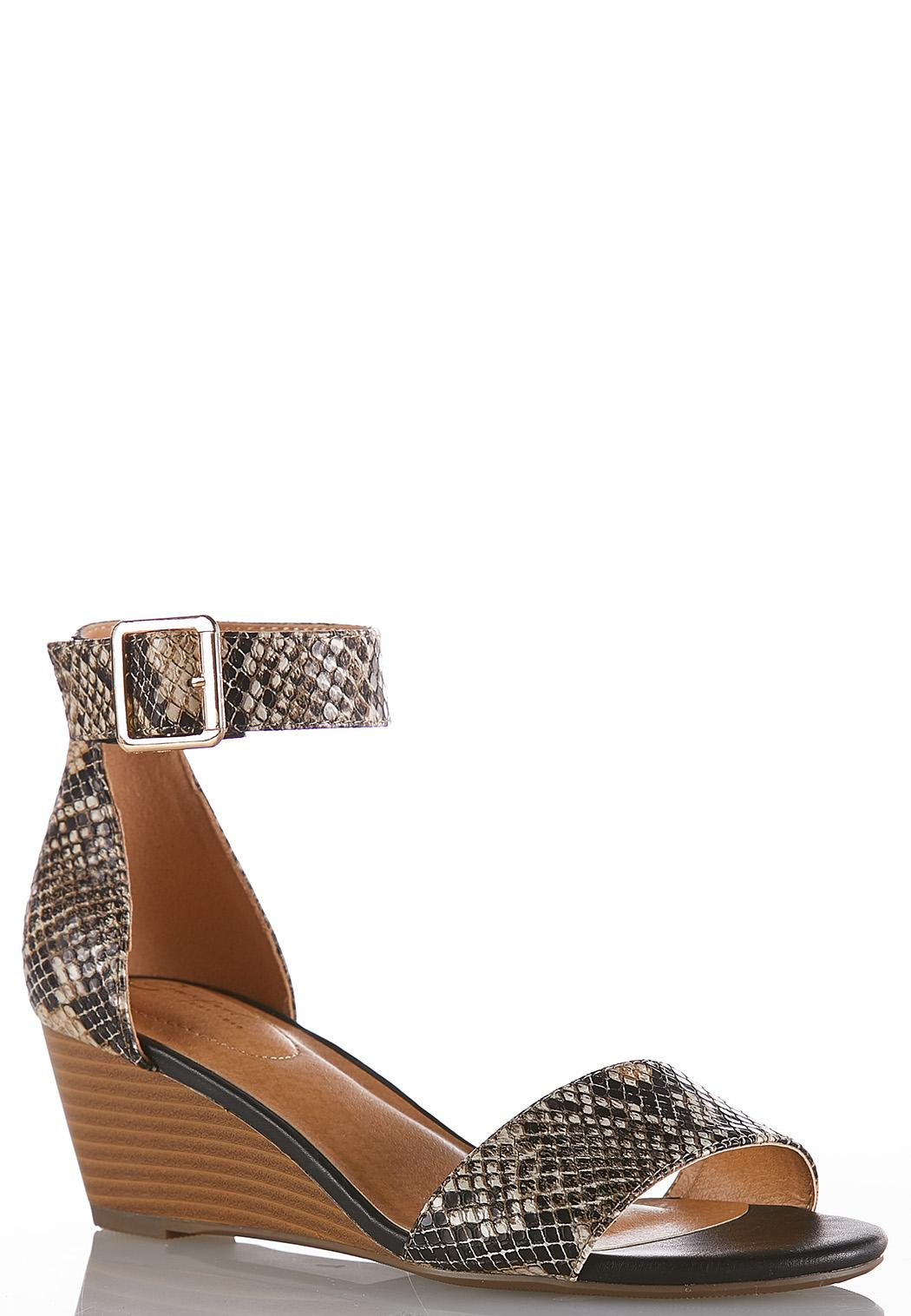 5c5203161cd Wide Width Snakeskin Wedge Sandals Wide Width Cato Fashions