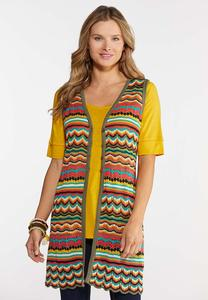 Plus Size Colorful Crochet Vest
