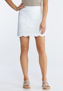 Scalloped Hem Pull-on Skort