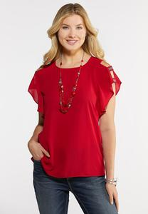 Plus Size Embellished Strappy Sleeve Top