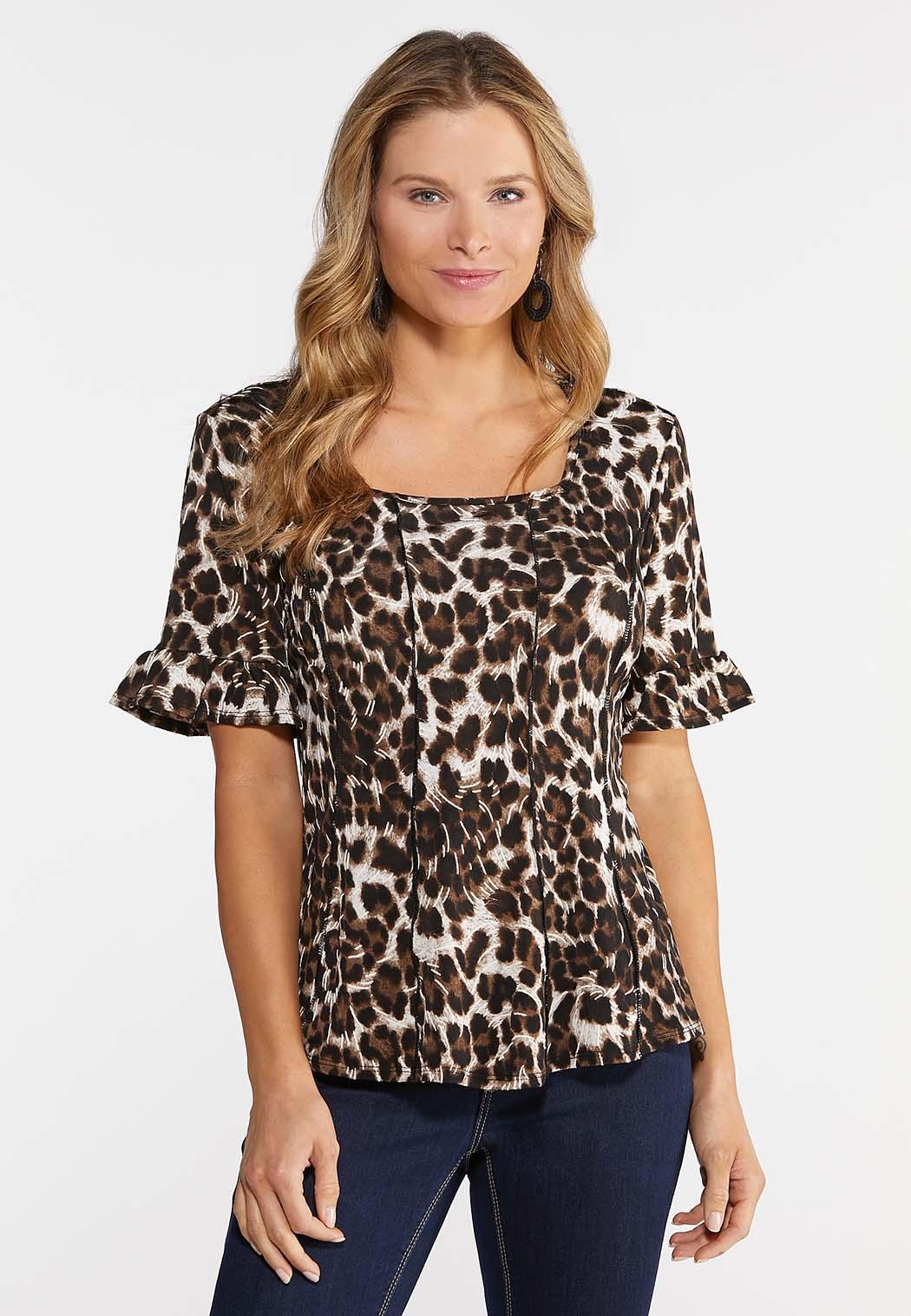 Plus Size Leopard Bell Sleeve Top
