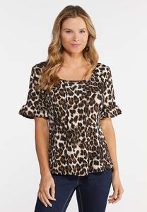 Plus Size Leopard Bell Sleeve Top