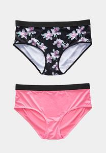 Plus Size Pink Floral Panty Set