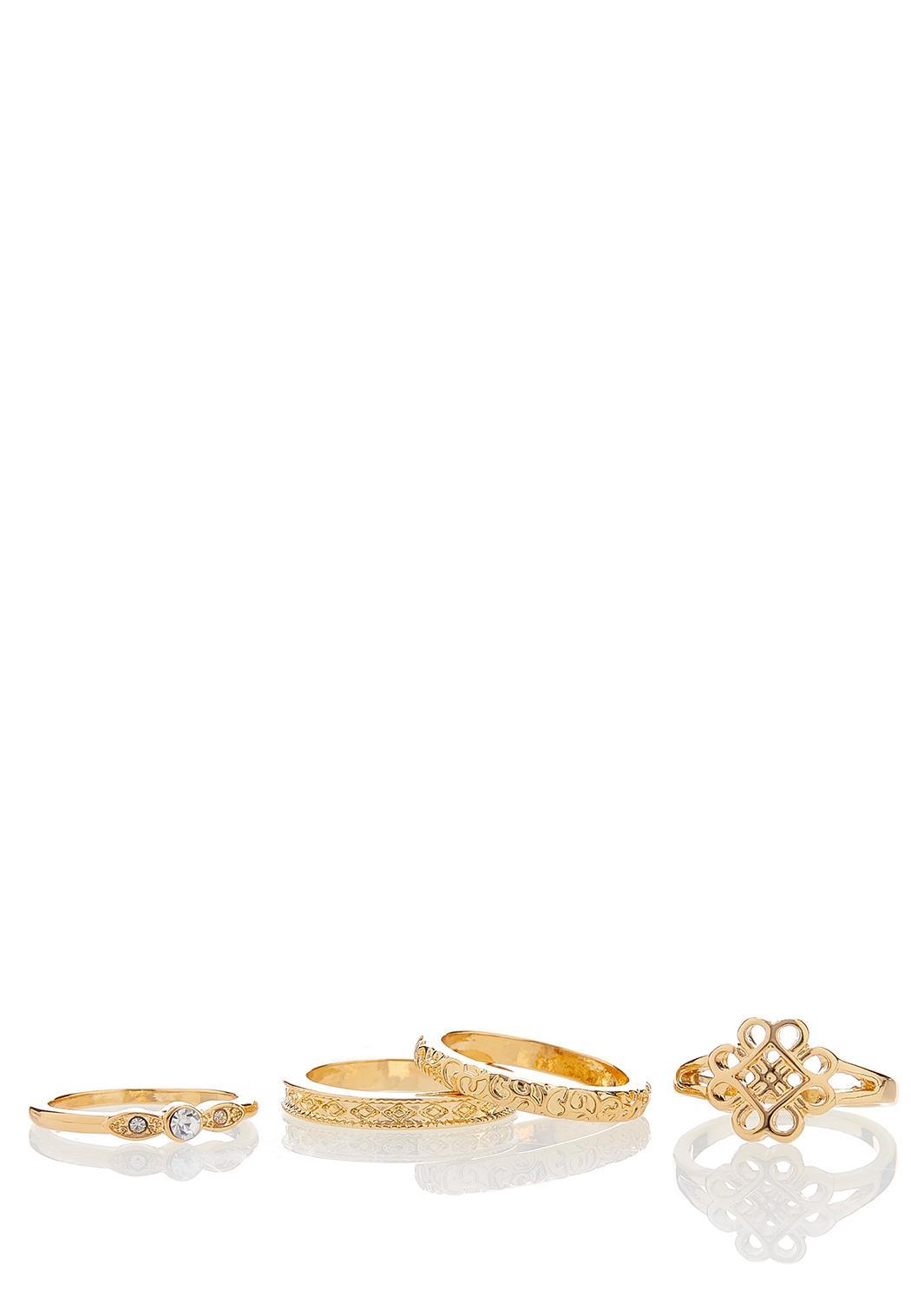 4 Piece Gold Ring Set