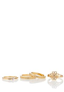 4 Piece Gold Ring Set