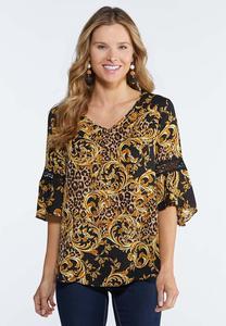 Golden Leopard Print Blouse