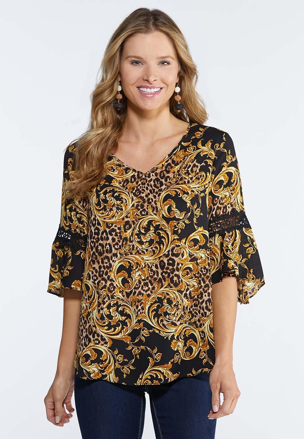 a30c52e5fa2970 Plus Size Golden Leopard Print Blouse Tops Cato Fashions