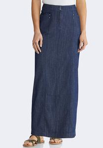 Plus Size Lightweight Denim Maxi Skirt