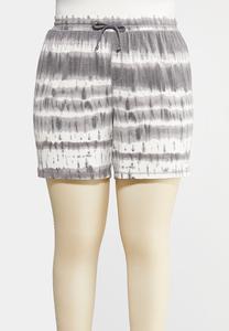 Plus Size Drawstring Tie Dye Shorts
