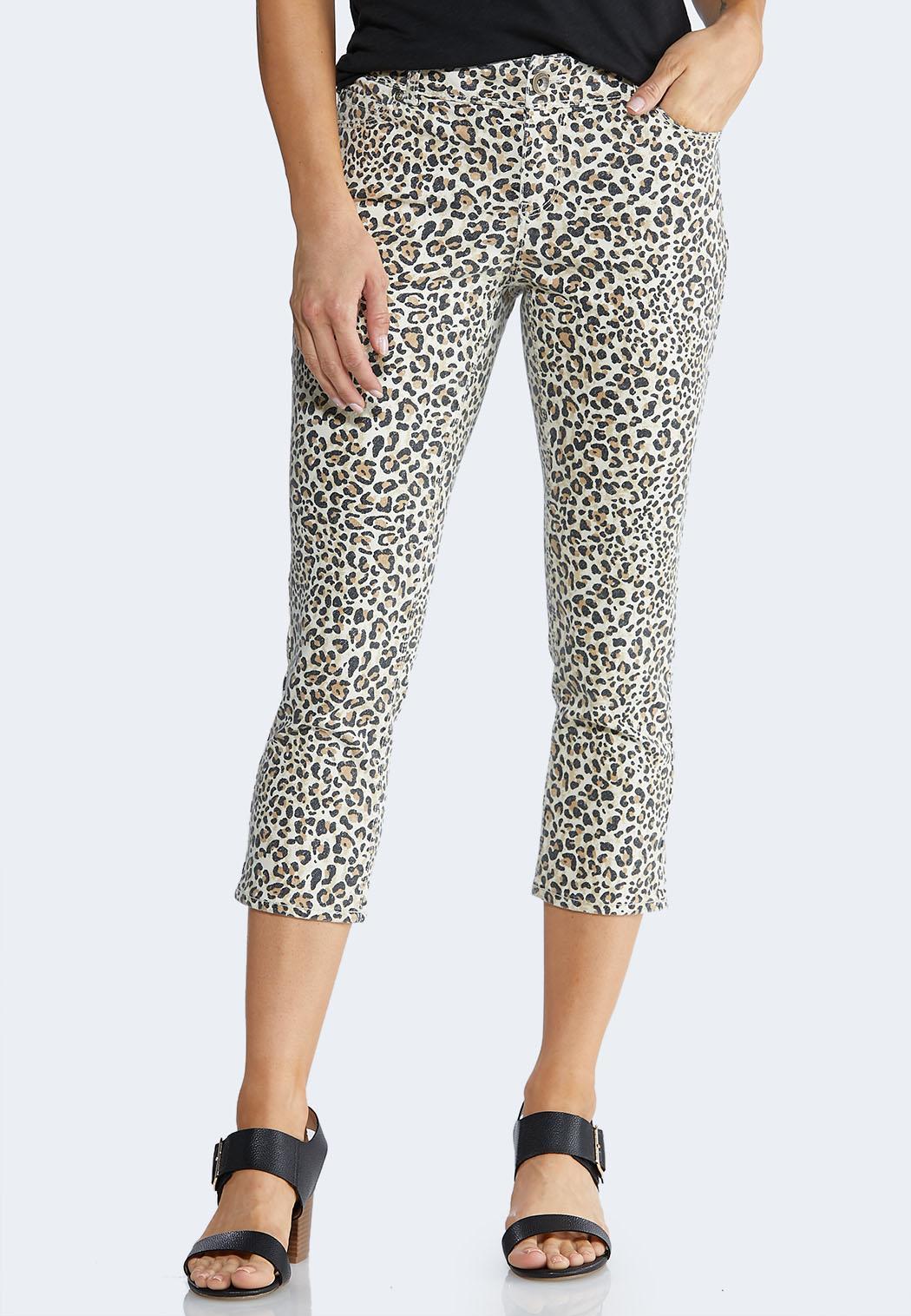 Petite Cropped Leopard Pants