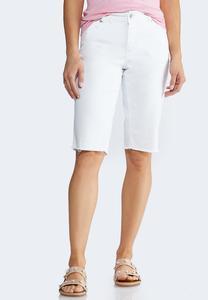 Raw Hem Bermuda Shorts