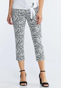 Petite Cropped Zebra Print Pants