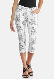 Cropped Sketched Floral Pants