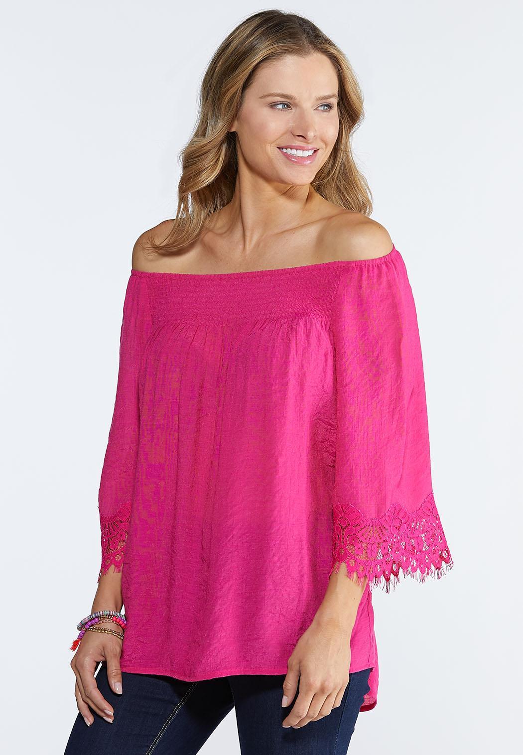 Plus Size Lace Trim Off The Shoulder Top