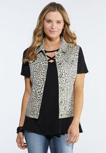 Plus Size Animal Print Denim Vest