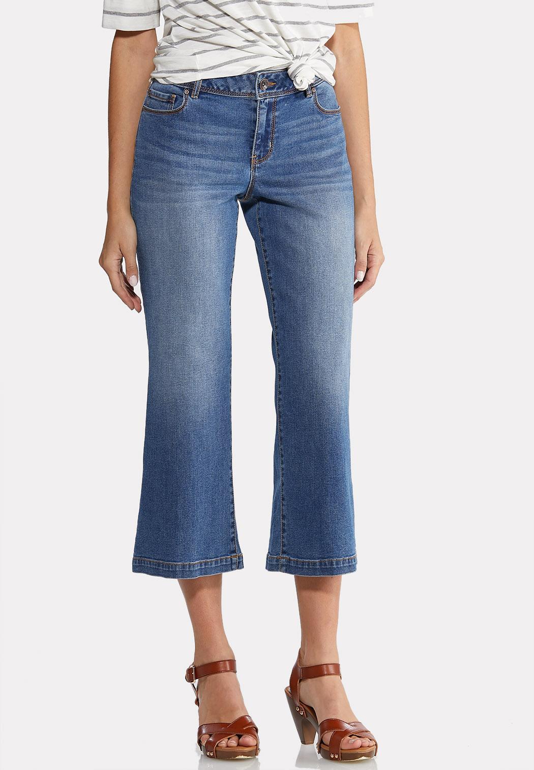 Petite Wide Leg Cropped Jeans