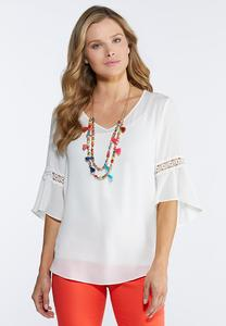 Plus Size Lace V-Neck Blouse