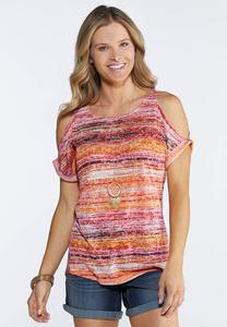 Plus Size Cold Shoulder Burnout Top