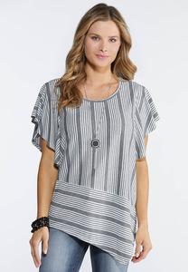 Flutter Sleeve Asymmetrical Top