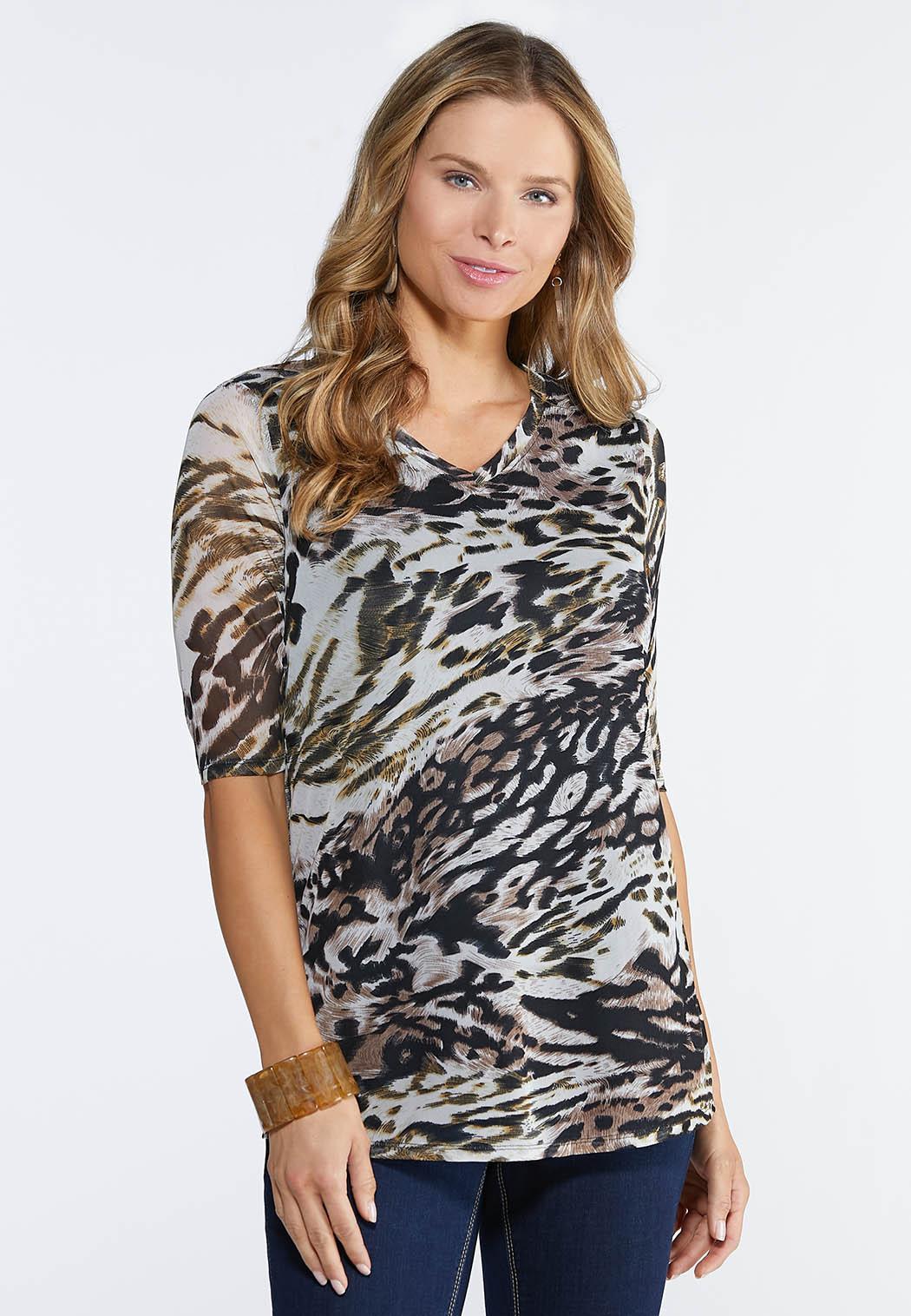 Cheetah Mesh Top