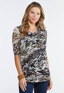 Plus Size Cheetah Mesh Top