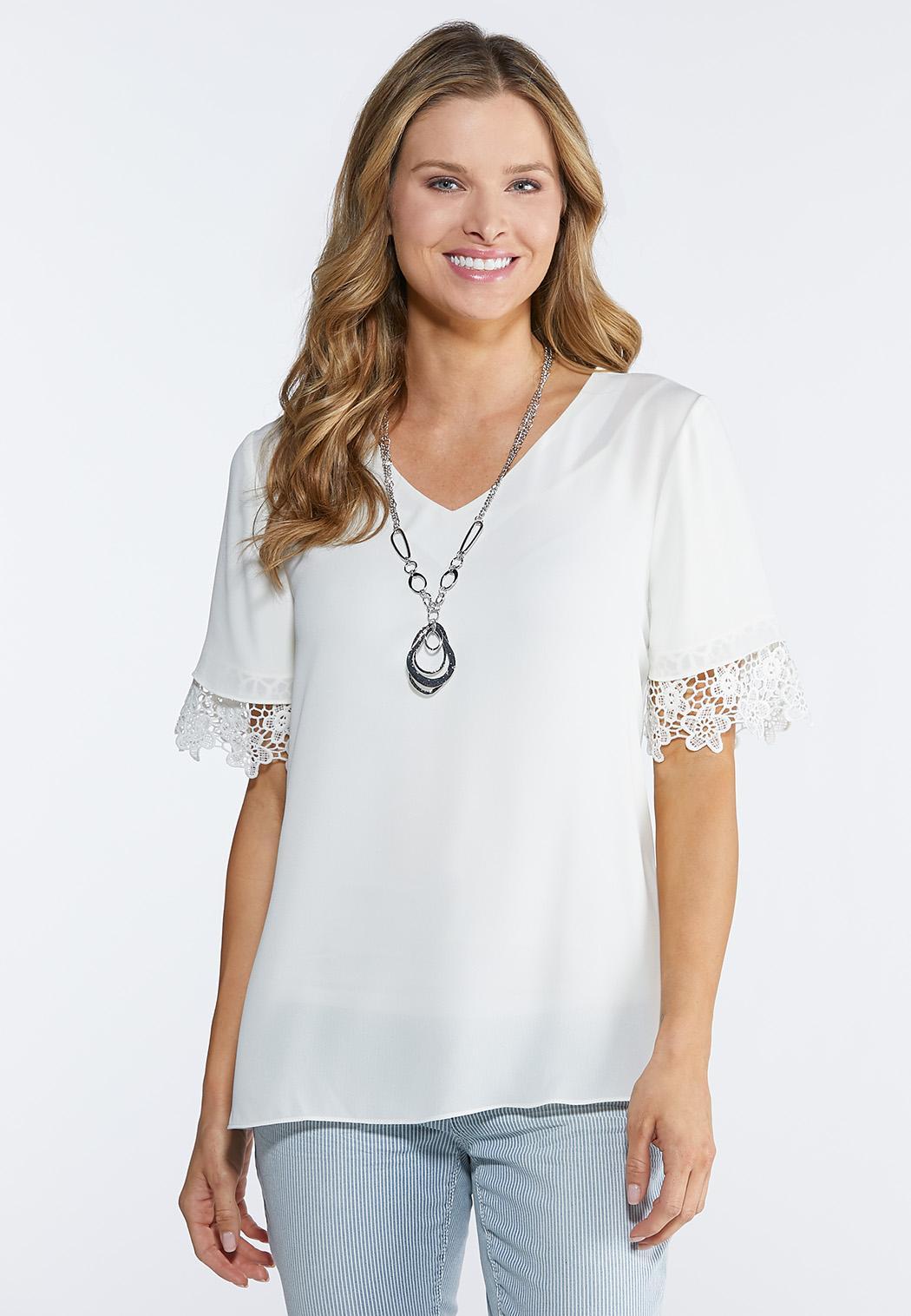 Plus Size Lace Trim Woven Top