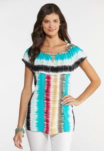 Plus Size Tie Dye Flounce Top