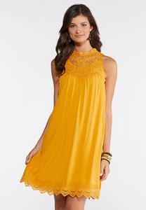 Lace Trim Swing Dress