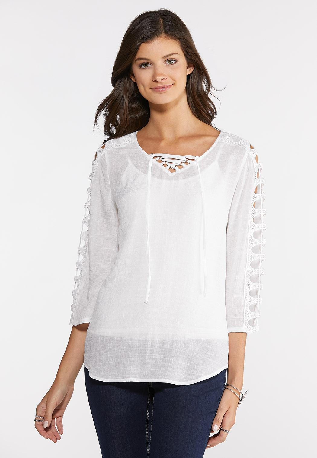Crochet Cutout Sleeve Top
