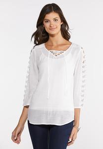Plus Size Crochet Cutout Sleeve Top