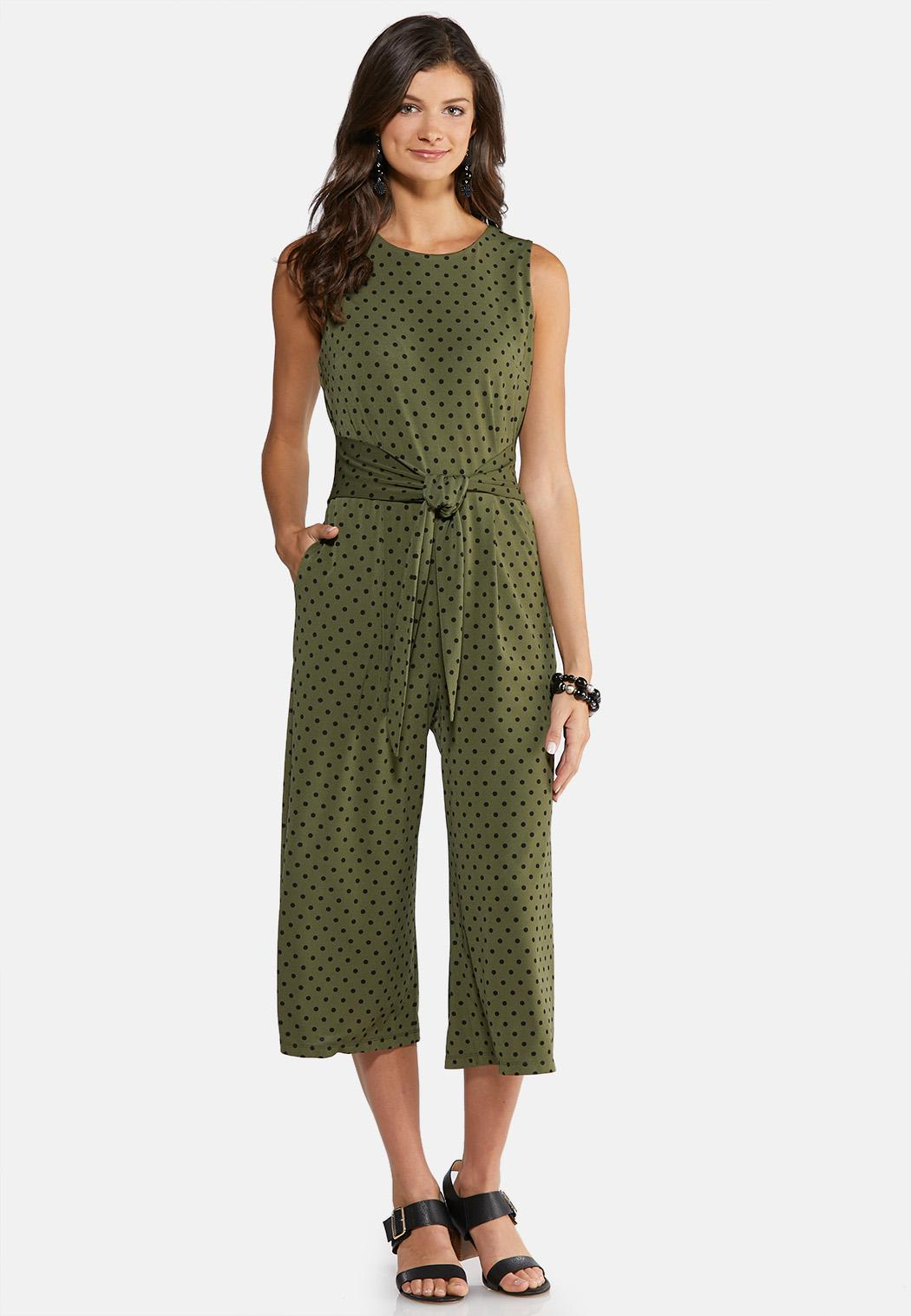 Plus Size Polka Dot Cropped Jumpsuit Jumpsuits Cato Fashions