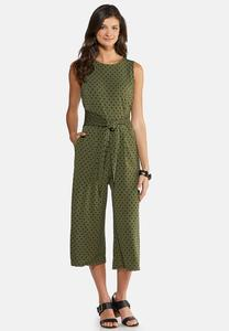 Plus Size Polka Dot Cropped Jumpsuit